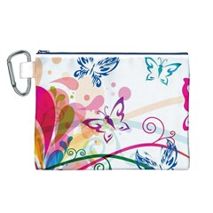 Butterfly Vector Art Canvas Cosmetic Bag (L)