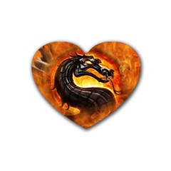 Dragon And Fire Rubber Coaster (Heart)