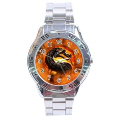 Dragon And Fire Stainless Steel Analogue Watch