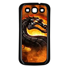Dragon And Fire Samsung Galaxy S3 Back Case (Black)