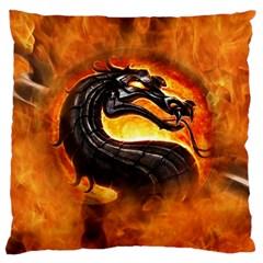 Dragon And Fire Large Flano Cushion Case (Two Sides)