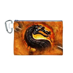 Dragon And Fire Canvas Cosmetic Bag (M)