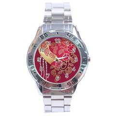 Love Heart Stainless Steel Analogue Watch
