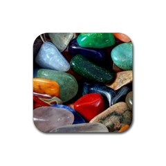 Stones Colors Pattern Pebbles Macro Rocks Rubber Square Coaster (4 pack)