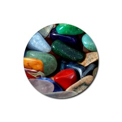 Stones Colors Pattern Pebbles Macro Rocks Rubber Round Coaster (4 pack)