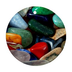 Stones Colors Pattern Pebbles Macro Rocks Round Ornament (Two Sides)