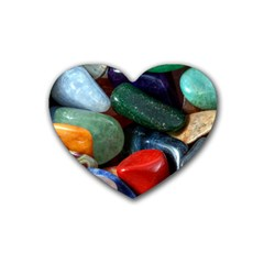Stones Colors Pattern Pebbles Macro Rocks Rubber Coaster (Heart)