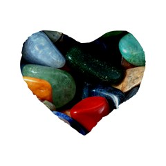 Stones Colors Pattern Pebbles Macro Rocks Standard 16  Premium Heart Shape Cushions