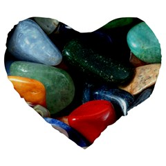 Stones Colors Pattern Pebbles Macro Rocks Large 19  Premium Flano Heart Shape Cushions