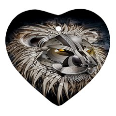 Lion Robot Heart Ornament (Two Sides)