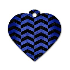Chevron2 Black Marble & Blue Brushed Metal Dog Tag Heart (two Sides)