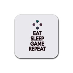 Eat sleep game repeat Rubber Square Coaster (4 pack)