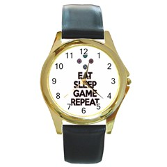 Eat sleep game repeat Round Gold Metal Watch