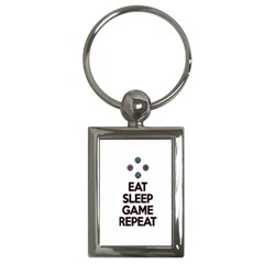 Eat sleep game repeat Key Chains (Rectangle)