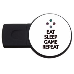 Eat sleep game repeat USB Flash Drive Round (2 GB)