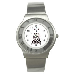 Eat sleep game repeat Stainless Steel Watch