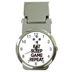 Eat sleep game repeat Money Clip Watches