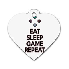 Eat sleep game repeat Dog Tag Heart (Two Sides)