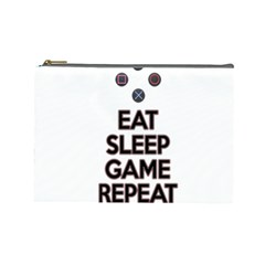 Eat sleep game repeat Cosmetic Bag (Large)