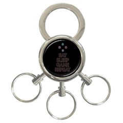Eat sleep game repeat 3-Ring Key Chains