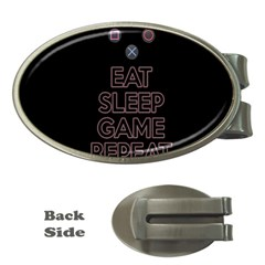 Eat sleep game repeat Money Clips (Oval)