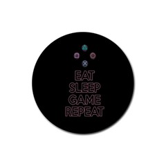 Eat sleep game repeat Rubber Round Coaster (4 pack)