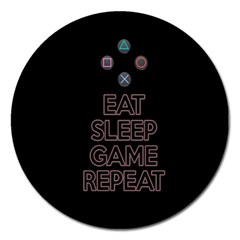 Eat sleep game repeat Magnet 5  (Round)