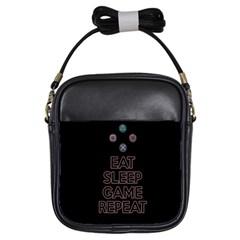 Eat sleep game repeat Girls Sling Bags