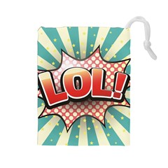 Lol Comic Speech Bubble Vector Illustration Drawstring Pouches (Large)