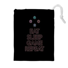 Eat sleep game repeat Drawstring Pouches (Extra Large)