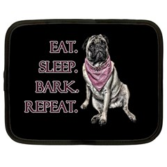 Eat, sleep, bark, repeat pug Netbook Case (Large)