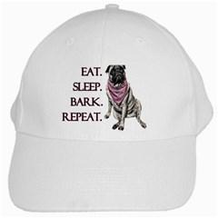 Eat, sleep, bark, repeat pug White Cap