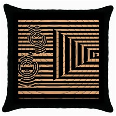 Wooden Pause Play Paws Abstract Oparton Line Roulette Spin Throw Pillow Case (Black)