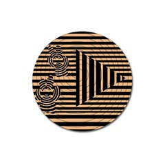 Wooden Pause Play Paws Abstract Oparton Line Roulette Spin Magnet 3  (Round)