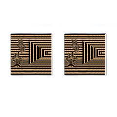 Wooden Pause Play Paws Abstract Oparton Line Roulette Spin Cufflinks (Square)