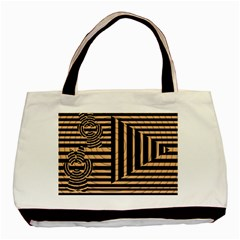 Wooden Pause Play Paws Abstract Oparton Line Roulette Spin Basic Tote Bag (Two Sides)