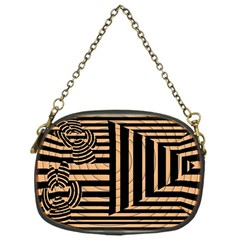 Wooden Pause Play Paws Abstract Oparton Line Roulette Spin Chain Purses (One Side)