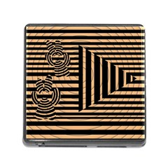 Wooden Pause Play Paws Abstract Oparton Line Roulette Spin Memory Card Reader (Square)