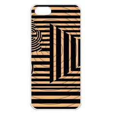 Wooden Pause Play Paws Abstract Oparton Line Roulette Spin Apple iPhone 5 Seamless Case (White)