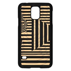 Wooden Pause Play Paws Abstract Oparton Line Roulette Spin Samsung Galaxy S5 Case (Black)