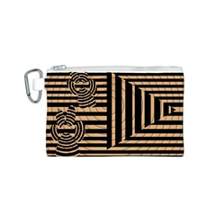 Wooden Pause Play Paws Abstract Oparton Line Roulette Spin Canvas Cosmetic Bag (S)