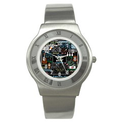 Book Quote Collage Stainless Steel Watch