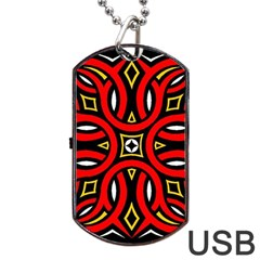 Traditional Art Pattern Dog Tag USB Flash (One Side)