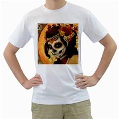 Fantasy Girl Art Men s T-Shirt (White) (Two Sided)