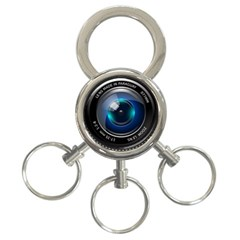 Camera Lens Prime Photography 3-Ring Key Chains