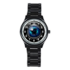 Camera Lens Prime Photography Stainless Steel Round Watch