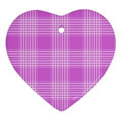 Seamless Tartan Pattern Heart Ornament (Two Sides)