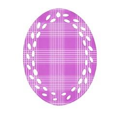 Seamless Tartan Pattern Oval Filigree Ornament (Two Sides)