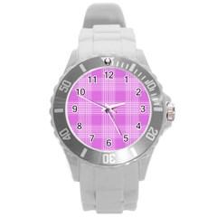 Seamless Tartan Pattern Round Plastic Sport Watch (L)