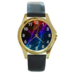 Cracked Out Broken Glass Round Gold Metal Watch